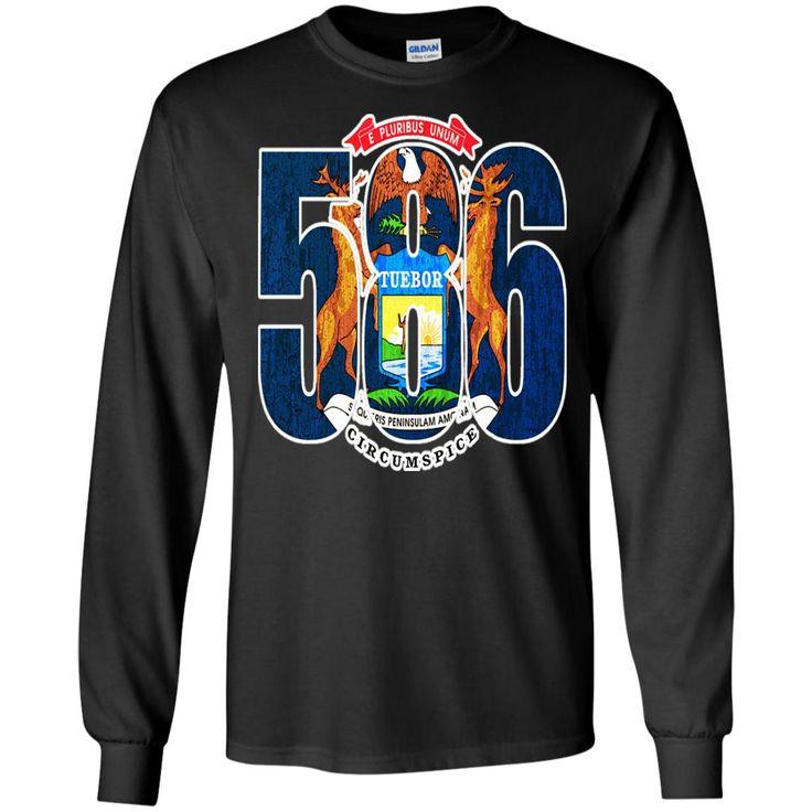 586 MICHIGAN AREA CODE FLAG G240 Gildan LS Ultra Cotton T-Shirt