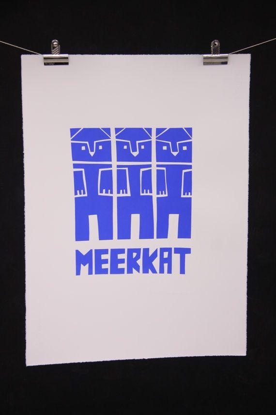 Meerkat hand pulled screenprint large A1 22 x 30 by katiejostuff, £50.00