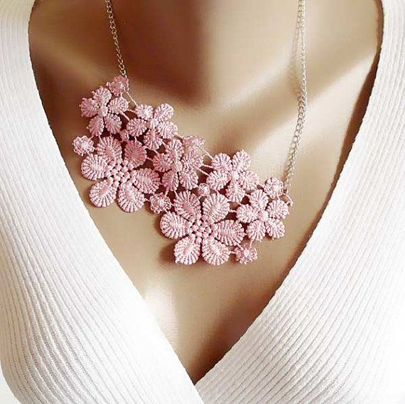 Pink Lace Collar Necklace romantic lace collar  by selenayselenay, $29.00