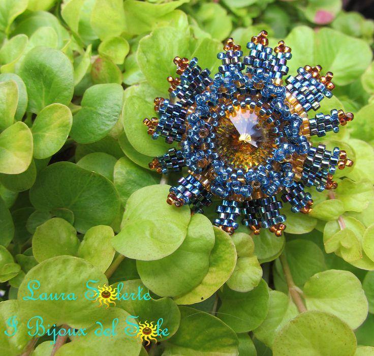 Anello Nymphea cerulea topaz&blue #swarovski #miyuki #perline #cristalli