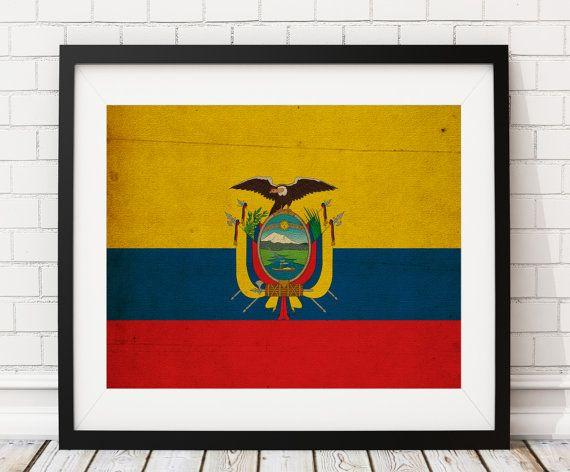 Ecuador Flag Art Ecuador Flag Print Flag Poster by FatFrogPrints