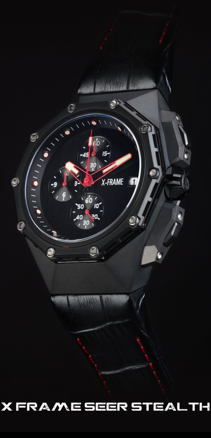 A Modular, Futuristic, Geometrically-Etched, Multifaceted Timepiece Sculpted from 316L Surgical Grade Stainless Steel.