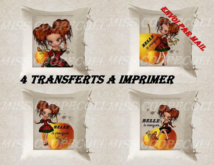 """4 images digitales pour transfert à imprimer """"miss belle à croquer"""" envoi par mail : Loisirs créatifs, scrapbooking par miss-coopecoll"""