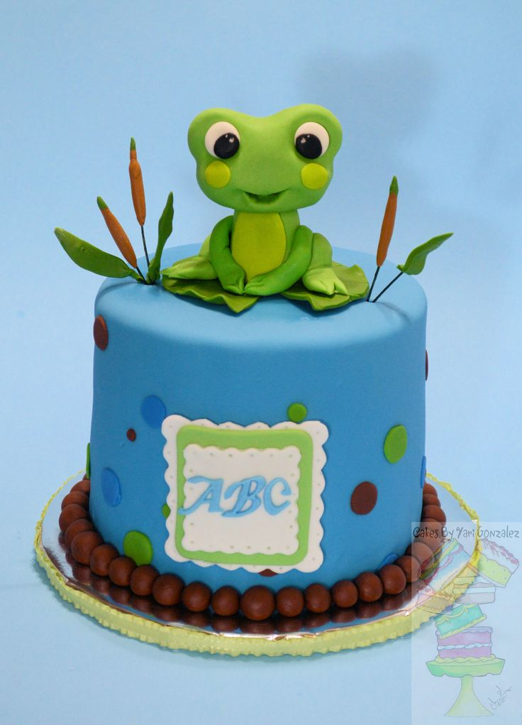 Froggy Frog Baby Shower Cake  - Frog theme shower cake!   Frog and decorations are gum paste. Cake is covered with mmf.