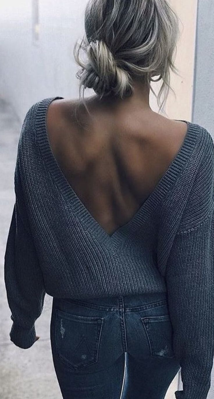 low v back knitted sweater + jeans #ootd