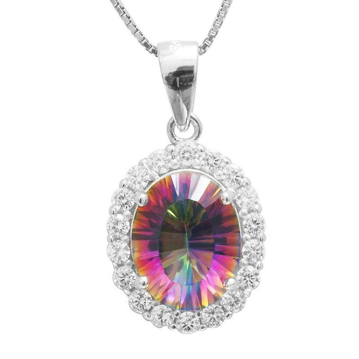 2.5ct Genuine Natural Rainbow Fire Mystic Topaz Pendant Necklace, Solid 925 Sterling Silver Necklace Fine Jewelry for Women from VS Crazy Deals