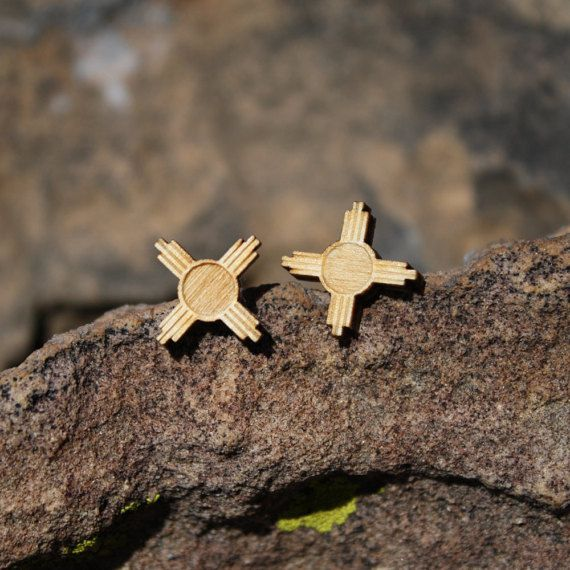 Tiny Zia Symbol stud earrings  New Mexico Style by CulturaCorazon