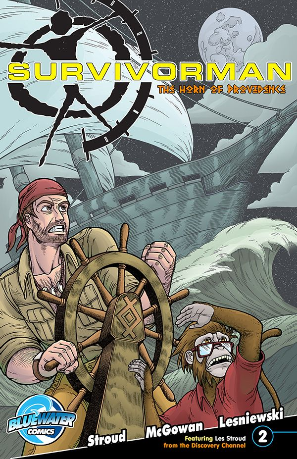 """Les Stroud's: Suvivorman: The Horn of Providence #2A. Les """"Survivorman"""" Stroud boards the newly christened Mayflower 2 for an action packed journey at sea.  Oswald is still at large with the Horn, but Les and his associates are poised to get it back.  Will they brave the elements and achieve their goals?  Find out in Survivorman: The Horn of Providence issue #2."""