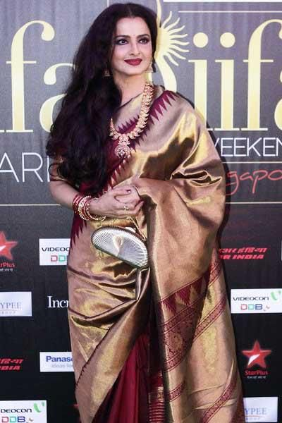 Actress Rekha looking stunning in Kanjivaram Saree