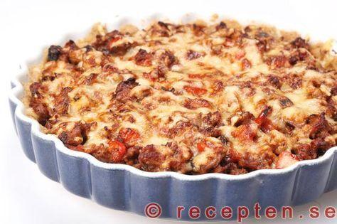 Ett recept på en mycket god köttfärspaj med en god och enkel pajdeg. Fyllning med köttfärs, lök, champinjoner.