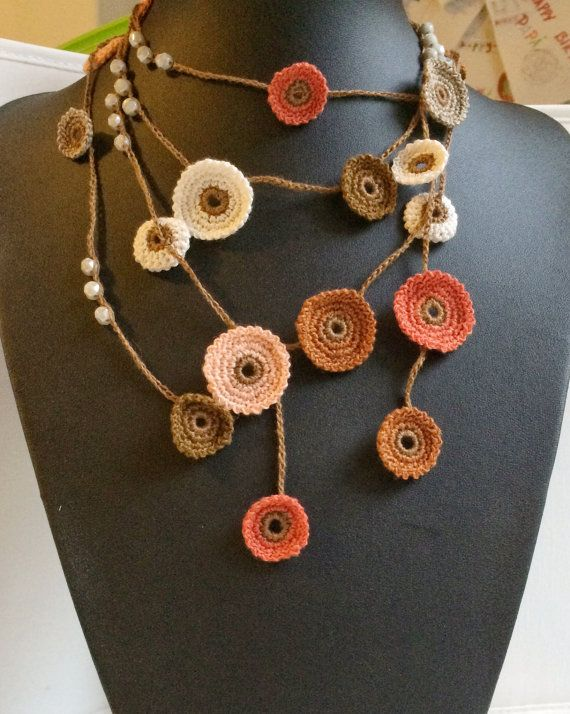Earth shades Turkish style beaded crochet necklace