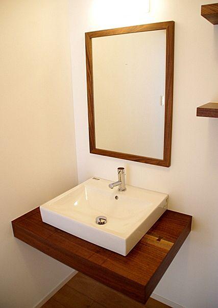 無垢ウォルナットのかっこいい洗面台壁排水-オーダーメイド製作例2012-6 丸萬(京都の木材屋)