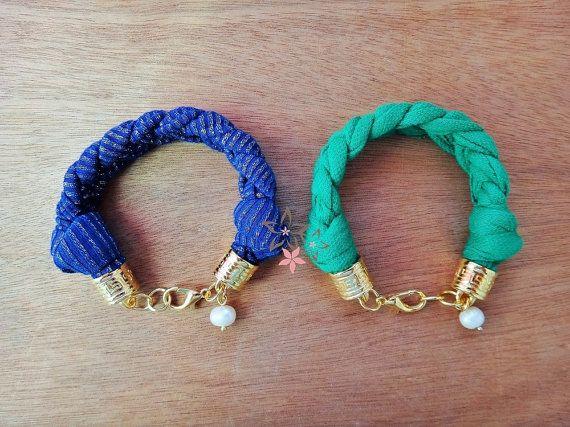 Fresh water pearl charm Blue / Green braided fabric by Twininas