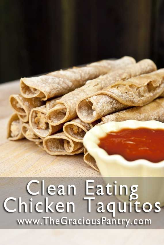 "Healthy Chicken Taquitos! Best ""make-ahead"" meal or snack ever!!!"