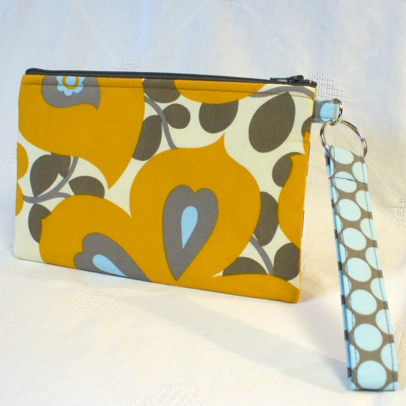 Fabric Wristlet Clutch Purse: Clutch Purse, Fabric Wristlet, Amy Butler Fabric