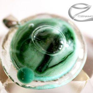 Türkiz zöld kerek üvegékszer