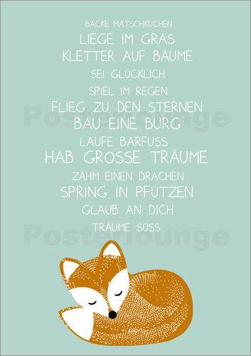 Poster Hab große Träume mit Fuchs