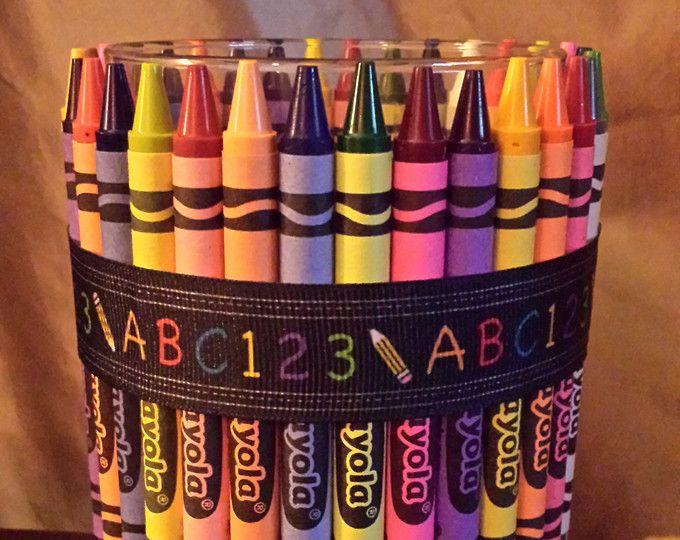 Teacher Appreciation Gift, Crayon Decorations, Pencil holder, Candy Jar, gift for teachers