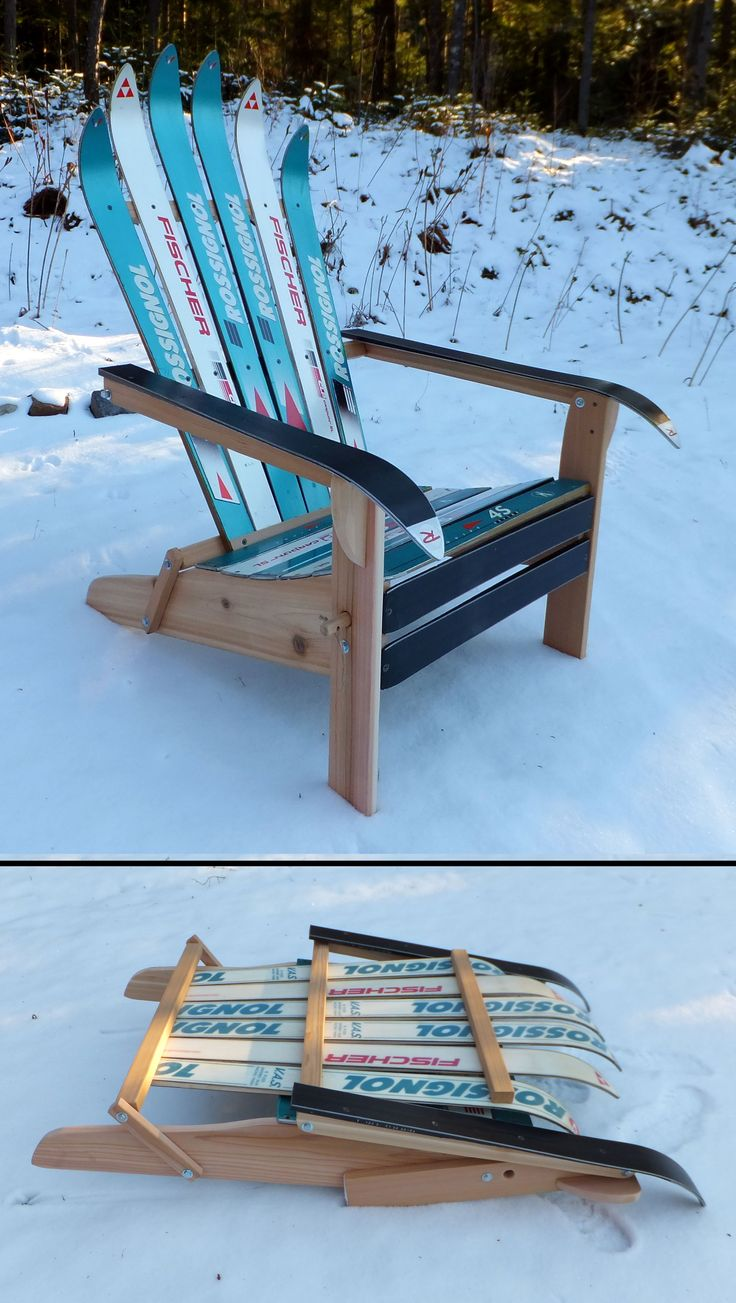 Folding ski chair pair, from Adirondack Ski Chairs of Lake Placid.