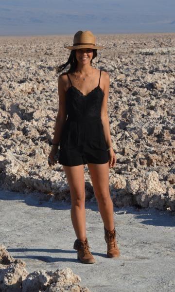Meu Look: Macaquinho + boots. Modait moda it, fashion, style. Coturno marrom, chapéu.