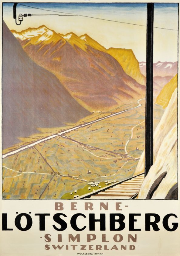 Lötschberg - Berne by Cardinaux Emil / 1921. Fine Swiss travel poster by the famous Emil Cardinaux showing the track of the Loetschberg railway and the Rhone Valley in the canton of Wallis. This company in joining the North of Switzerland to Italy, through the Alps, via Bern, the canton of Wallis and the Simplon Tunnel. A rare poster by the Master, in perfect condition.