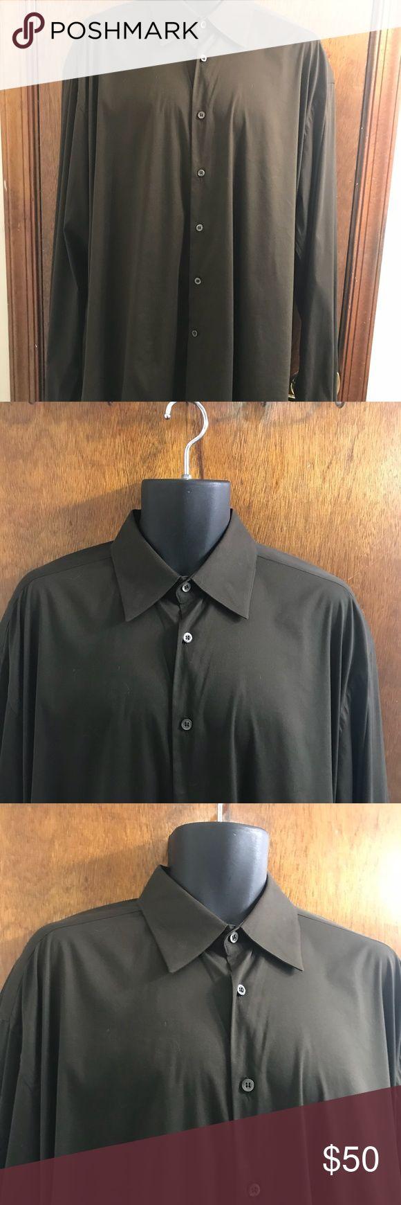 "Prada Men's Brown Dress Shirt Size 43/17 43 17 Prada Men's Brown Dress Shirt Size 43/17 43 17 Dry Cleaned! Cotton blend  Been dry cleaned  Pit to pit 26.5"" Sleeves 27.5"" Length 34"" Prada Shirts Dress Shirts"