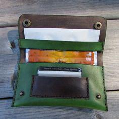 Blague a tabac en cuir vert écologique