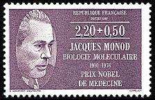 Jacques Monod 1910-1976 Biologie moléculaire - Prix Nobel de Médecine Médecins et biologistes - Timbre de 1987