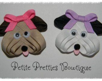 Boutique Puppy Dog Ribbon Sculpture Hair Bow Clip