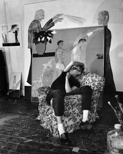 David Hockney in his studio, 1963 by Jorge Lewinski
