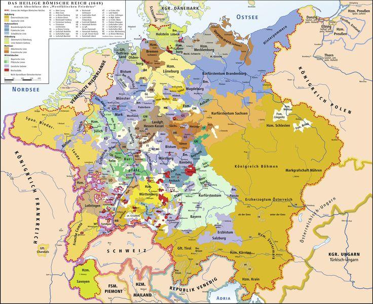 Gebietsaufteilung des Heiligen Römischen Reiches deutscher Nation im Jahre 1648