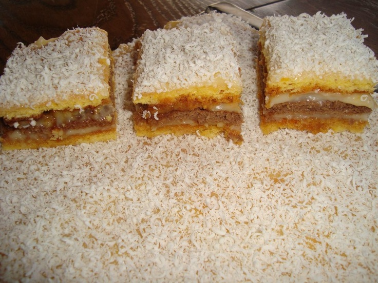 Romanian cake with cream caramel, cocoa and white chocolate, yummy :)