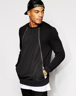 ASOS Sweatshirt With Zip Front and Woven Panel