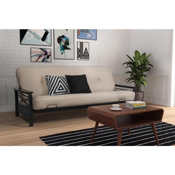 DHP Nadine Metal Futon Frame with Espresso Wood Armrests - 17587404 - Overstock.com Shopping - Great Deals on DHP Futons