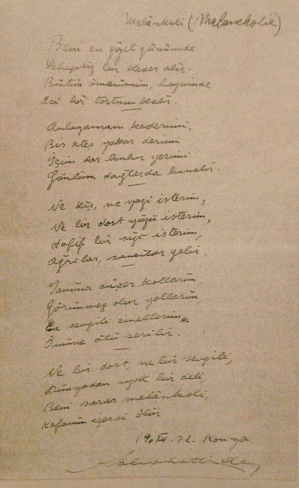 Sabahattin Ali'nin kendi el yazısıyla bir şiiri