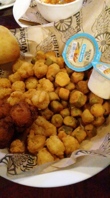 Another gem from the Panama City Beach, Florida  tour in July 2017. Shrimp basket including fried shrimp, okra and hushpuppies. All a nice combination. Reviewed on Florida Stuffed.