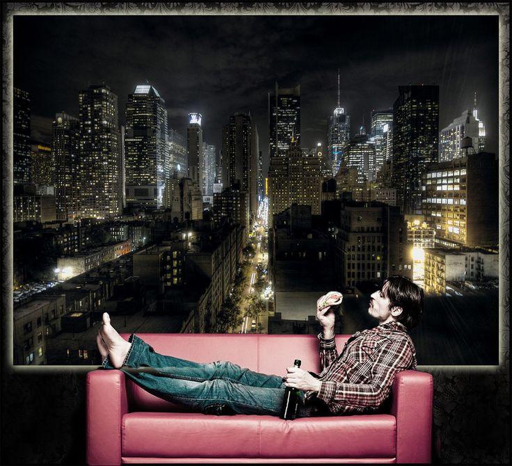 Manhattan Bei Nacht XXL Fototapete Wohnzimmer Wanddekoration New York Poster