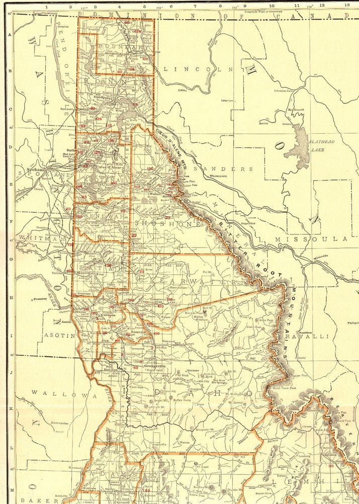 1930 Antique Idaho State Map Vintage Map Of Idaho Railroads Rare - Us-map-1930