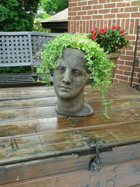 Stone Head Planter Brimfield Antique Fair Head