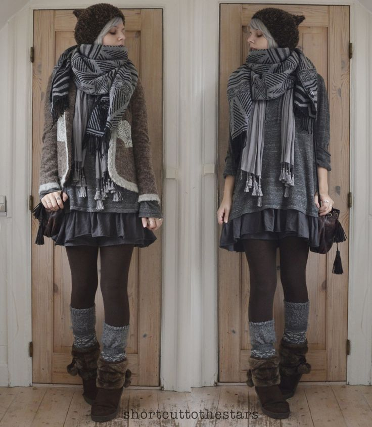 """shortcuttothestars: """" I love using multiple scarves and socks as a way of accessorizing and making an outfit interesting :) Layering is the best! Literally everything is thrifted, right down to the..."""