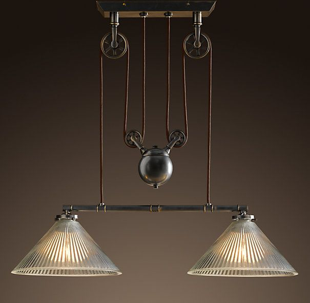 vintage ceiling lights that are on pullys | Industrial Pulley Double Pendant | Utility Pendants | Restoration ...