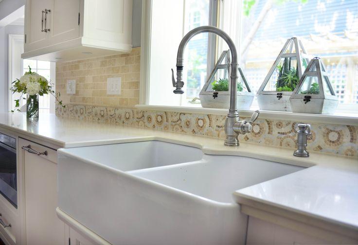 sink mosaic backsplash faucets aprons mosaics forward apron front sink