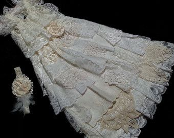 Lace Flower Girl Dress Vintage Look Shabby Chic by Edenspring