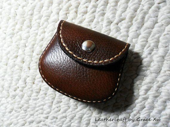 100% hand stitched handmade walnut brown cowhide leather Ipod, ear buds, earphone, coin, trinket, jewelry, case / pouch