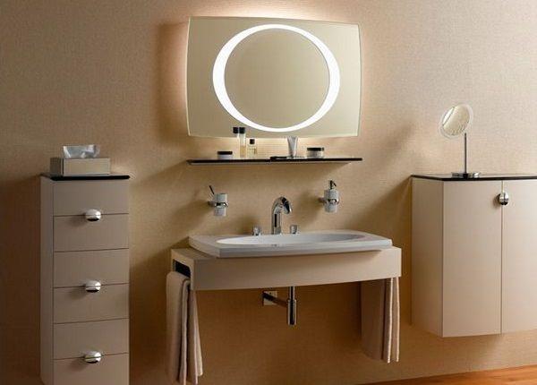 зеркало с подсветкой и полкой