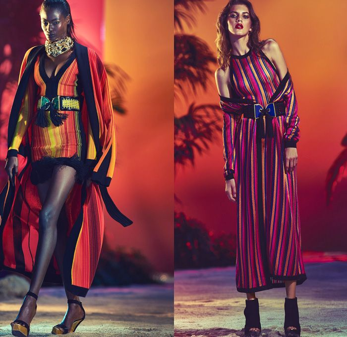 Balmain 2017 Resort Cruise Pre-Spring Womens Lookbook Presentation - Patchwork Denim Jeans Embroidery Bedazzled Metallic Fringes Frayed Raw Hem Tassels Sheer Chiffon Basketweave Knit Sleeveless Cargo Pockets Cloak Cape Wide Leg Trousers Palazzo Pants Flare High Slit Wide Belt Zipper Coatdress Skirt Frock Drawstring Bomber Jacket Suede Leather Mesh Patchwork Ruffles Balloon Sleeves Silk Satin Wrap Kimono Gown Eveningwear Handbag