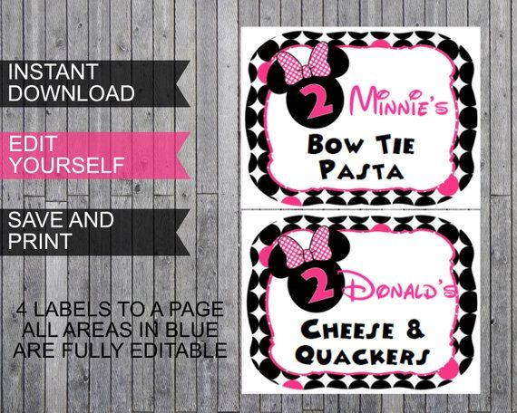 Oh Twodles Minnie Mouse Inspired Party Pack Banners Food Labels Printable Template Instant Download