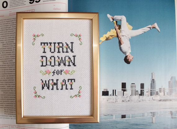 FINISHED Turn down for what cross stitch / DJ Snake & Lil Jon cross stitch sampler / Rap Lyrics / Funny cross stitch gift /subversive stitch