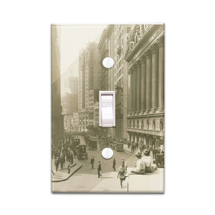 NY Stock Exchange street view - Vintage Photo (Light Switchplate Cover)
