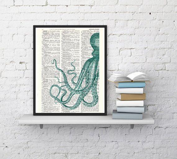 Curieux turquoise Octopus impression sur page de livre dictionnaire Vintage on Etsy, 8,95$ CAD